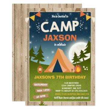 camping birthday invitation camp out party