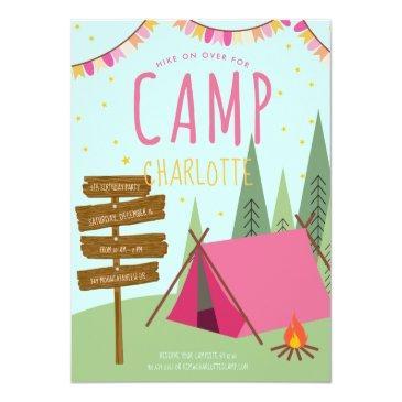 camping birthday party invitation pink green