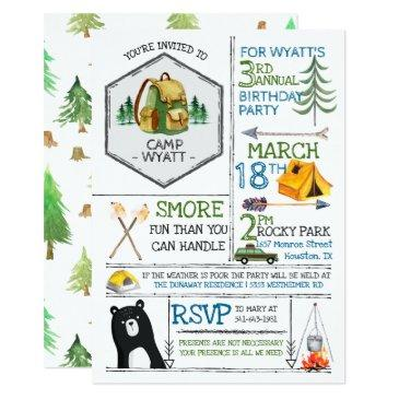 camping themed party - badges & icons invitations