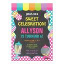 candy candyland rainbow birthday party girl invitation