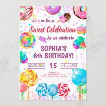 candy land girl birthday sweet celebration rainbow invitation