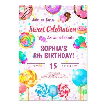 candy land girl birthday sweet celebration rainbow invitation