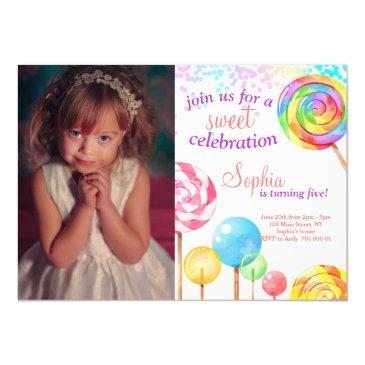 candy land girl birthday sweet lollipops invitation