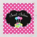 candy pink polka dot sweet 16 birthday invitations