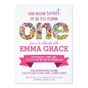 candy theme 1st birthday party sprinkles invite
