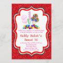 candyland glitter candy sweet 16 invitation