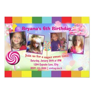 candyland sweet birthday party 4 photo invitation