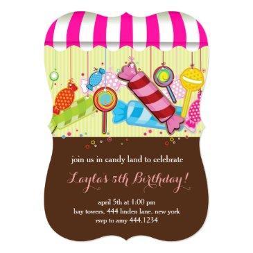 candyland sweet shop birthday invitations