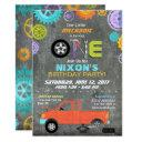 car mechanic gears tools chalkboard birthday invitations