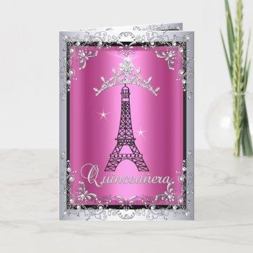 invitations quinceanera pink silver tiara eiffel tower