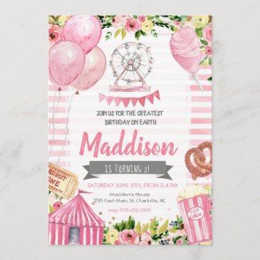 carnival birthday invitation, circus birthday invitation