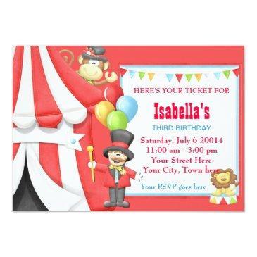 carnival circus birthday party invitation