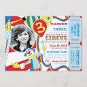 carnival circus clowns birthday invitation