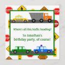 cars, trucks and street signs children's birthday invitation