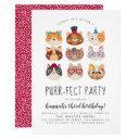 cartoon cats kids' purr-fect birthday party invitation