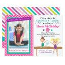 cartwheels and cupcakes gymnastics birthday invitations