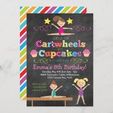 cartwheels & cupcakes chalkboard gymnastics party invitation