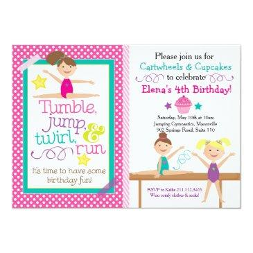 cartwheels & cupcakes gymnastics party invitation