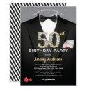 casino 50th birthday invitations. black and gold invitations