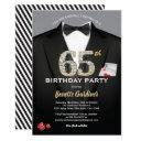 casino 65th birthday invitation. black and gold invitation