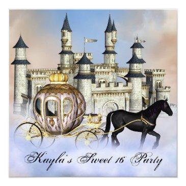 Small Castle Clouds Princess Fairytale Sweet 16 Party Invitation Front View
