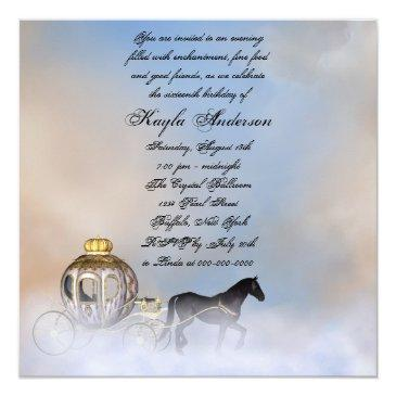 Small Castle Clouds Princess Fairytale Sweet 16 Party Invitation Back View