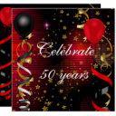 celebrate 50 50th birthday party black red stars invitation