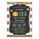 chalkboard burlap cute pumpkin baby first birthday invitations