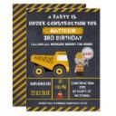 chalkboard construction birthday party invitations