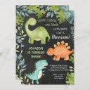 chalkboard dinosaur birthday invitation