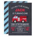 chalkboard fire engine birthday invitations