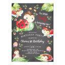 chalkboard little lady ladybug 1st birthday invitations