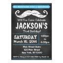 chalkboard mustache birthday party invitations