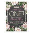 chalkboard pearls little lady 1st birthday invitations