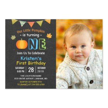 chalkboard pumpkin baby first birthday photo invitations
