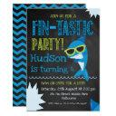 chalkboard shark birthday invitations