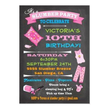 chalkboard sleepover slumber party spa birthday invitations