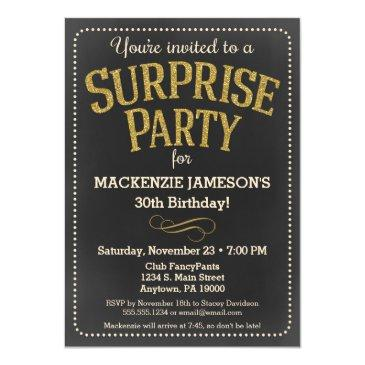 chalkboard surprise party invitations man or woman