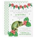 chameleon lizard second birthday invitation