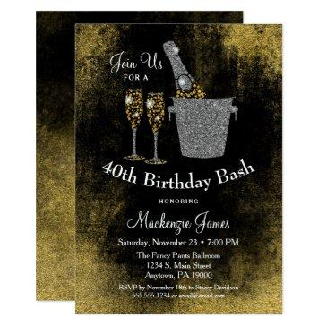 champagne birthday invitation black gold silver