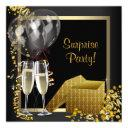champagne confetti black gold surprise party invitation