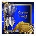 champagne confetti blue and gold surprise party invitation