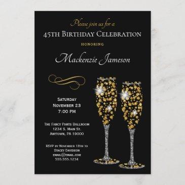 champagne glasses black gold birthday invitation