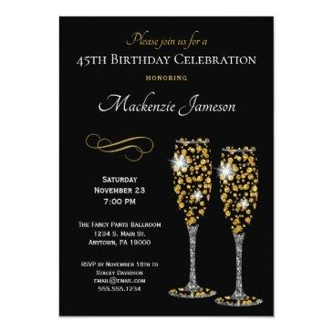 champagne glasses black gold birthday invitation