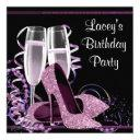 champagne high heel womans hot pink birthday party invitation