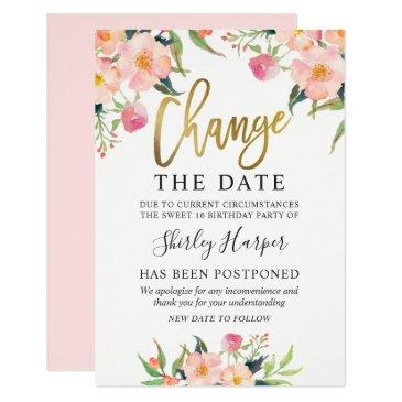 change the date pink floral gold script invitation