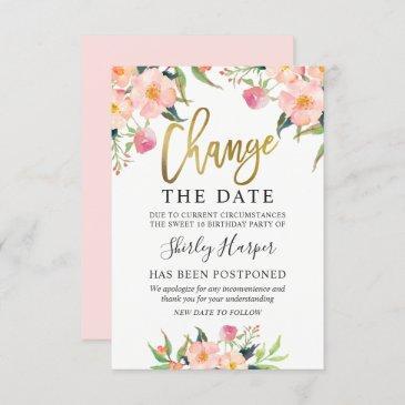 change the date pink floral gold script invitation