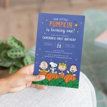 charlie brown and gang pumpkin first birthday invitation