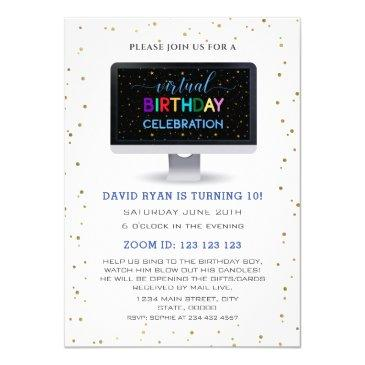 charm boy colourful virtual birthday celebration invitation