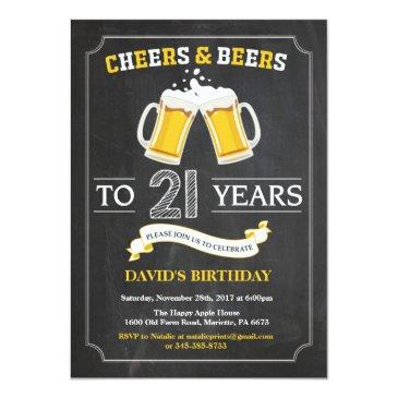 cheers and beers 21st birthday invitations